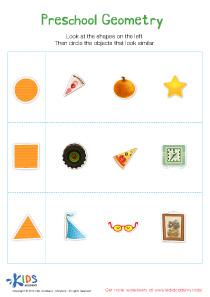 Preschool Geometry Printable Worksheet