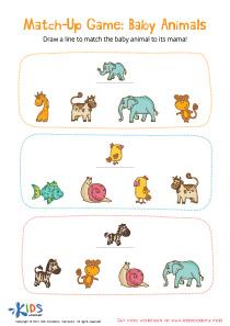 Baby Animals Matching Worksheet