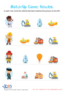 Preschool Matching Game Worksheet