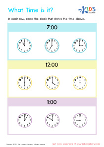 Telling The Time PDF Worksheets, Part 3