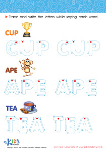Spelling PDF Worksheets: A Cup, an Ape and Tea