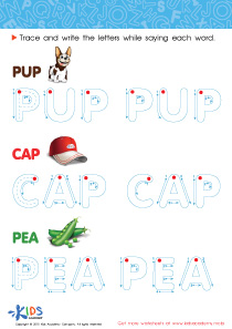 Spelling PDF Worksheets: A Pup, a Cap and a Pea