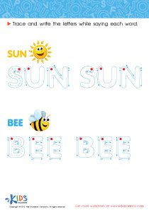 Spelling PDF Worksheets: The Sun and a Bee