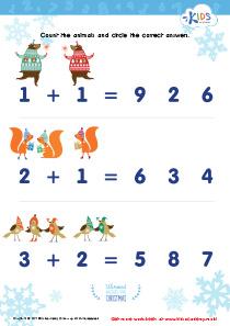 Math PDF Worksheet: Count Funny Animals