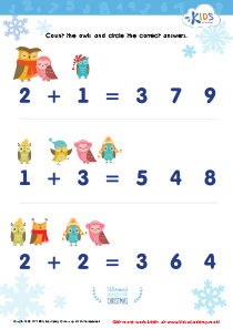 Math PDF Worksheet: Count Little Owls