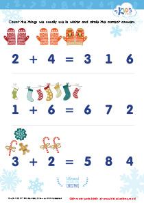 Math PDF Worksheet: Count Winter Things