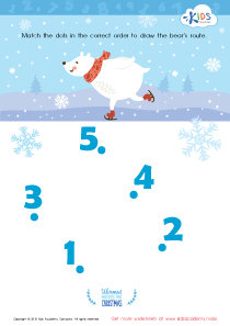 Math PDF Worksheet: Drawing the Bear's Route by Number