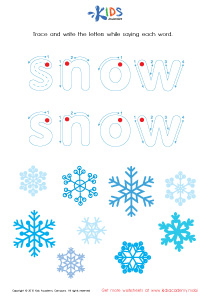 Tracing Winter Words : Snowflake