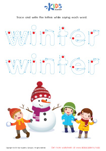 Tracing Winter Words : Snowman