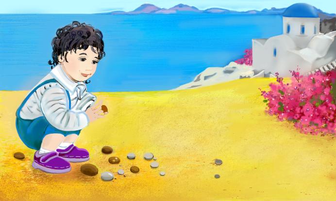 a boy sitting on sand